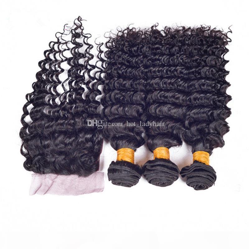 Cheveux de vague profonde brésilienne brute avec fermeture Free Moyen-trois partie 4x4 dentelle de dentelle de dentelle avec des paquets de fermeture naturelle Fermetures de couleurs Bundles 7a