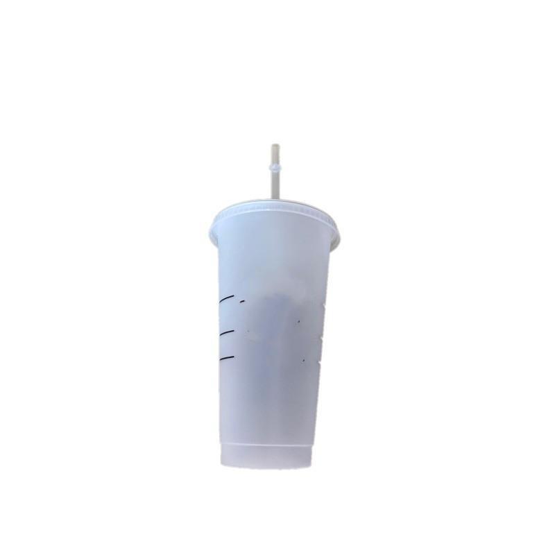 Starbucks 24oz / 710ml plástico tumbler 5 pcs reutilizável limpeza Beber plana plana copo pilar forma tampa caneca caneca Bardian frete grátis G2