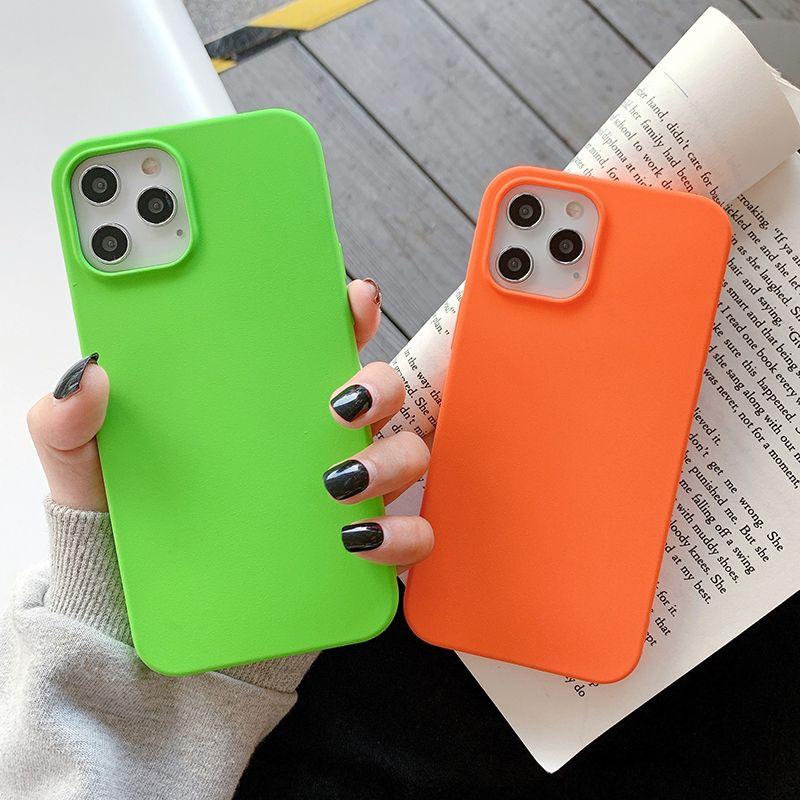 Ultra-ince mat kare telefon kılıfı iphone 12pro 11pro max xr xs max 7 8 artı 12 11pro yumuşak şeker renk arka kapak