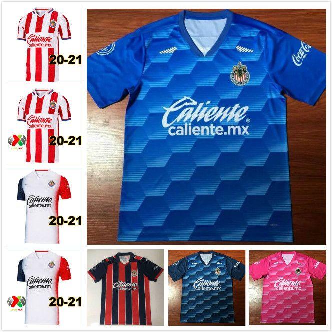 20 21 Chivas de Guadalajara Soccer-Jerseys A. Pulido Lopez Home Rot White Away 3rd Football Hemd Camisetas de Fútbol Kurzarm Uniformen