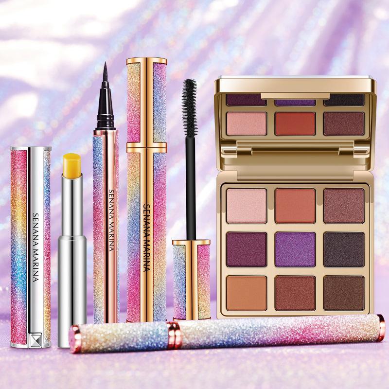 Makeup Ensembles Star Star Set, kit de cosmétiques de mode, paupières magiques, mascara imperméable, rouge à lèvres, cils doux naturels doux