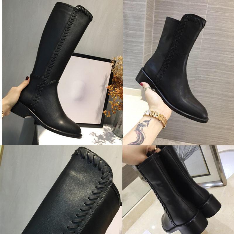 Chaud Sale-Neuf Main Madames Bottines Bottines 2019 Automne Hiver Dames Chaussures En Cuir Véritable Bottes Femme Bottes De Femme Genoue