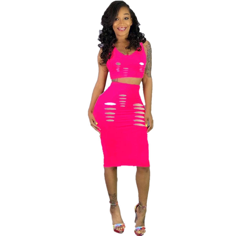 Выладочная сексуальная 2 шт. Соответствующее установленное набор летняя одежда для женщин о шеи без рукавов без рукавов Top + Bodycon юбка Летние два куска наряд
