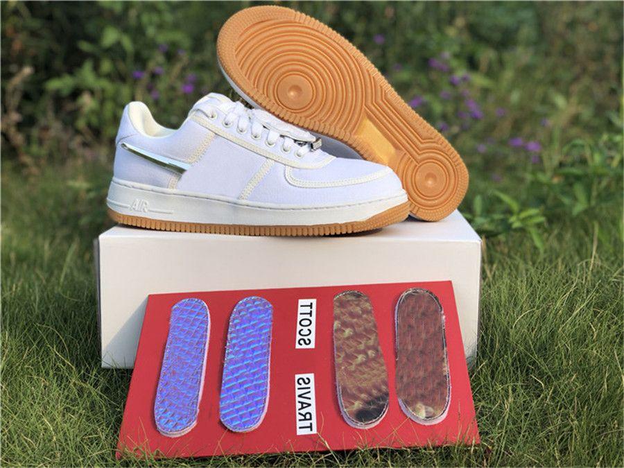 Новый выпуск Трэвис Скотт х 1 Низкая парусная резинка светло-коричневый скейтборд обувь мужчины 3 м Светоотражающие наружные кроссовки Zapatos с оригинальной коробкой 36-46