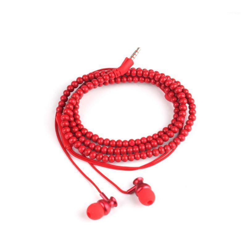 Moda Grânulos de Madeira Bracelete Fone de Ouvido Fone de Ouvido Com Microfone para Android MP3 Media Player # 2632931
