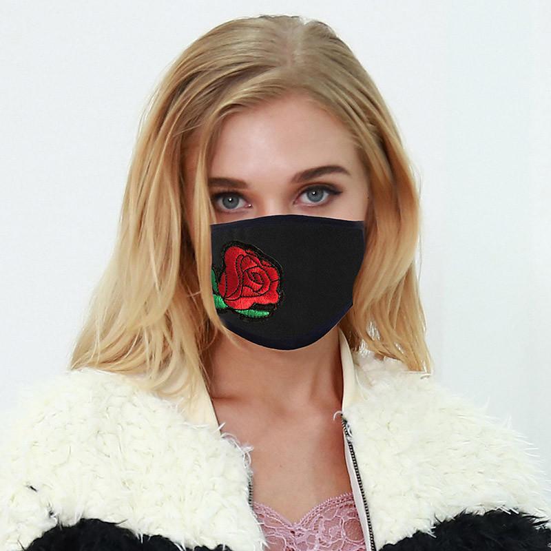 Мода для творчества Маски цветы Черные женщины пылезащитный солнцезащитный крем моющиеся вышивами лица маска для лица взрослых дизайнер xghkes