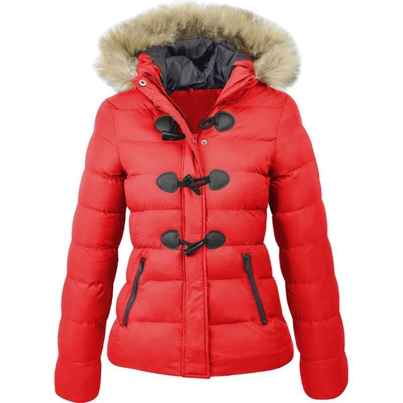 ZOGAA Plus Size Women Parkas Casual Slim Fit Fur Collar Horn Buckle Woman Winter Wear Warm Jacket Parka Coats Jackets Female 210203