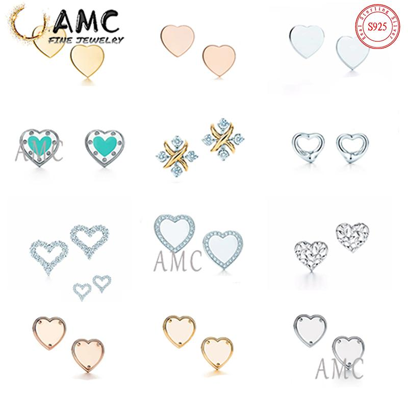AMC 925 فضة الأقراط الكلاسيكية الحب شكل عشيق أزياء أنثى مصمم القرط بالجملة على الفور