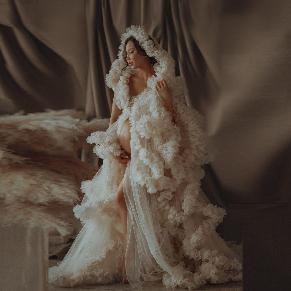 Lüks Abiye Tül Cornes Custom Made Uzun Sırf Kadınlar Tül Analık Soyunma Abiye Elbiseler Ruffled Özel Durum Elbise