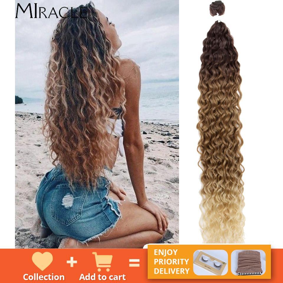 Bionde dell'onda dell'acqua marrone con i capelli sintetici dei capelli ricci Bundles per le donne Miracle Q1128