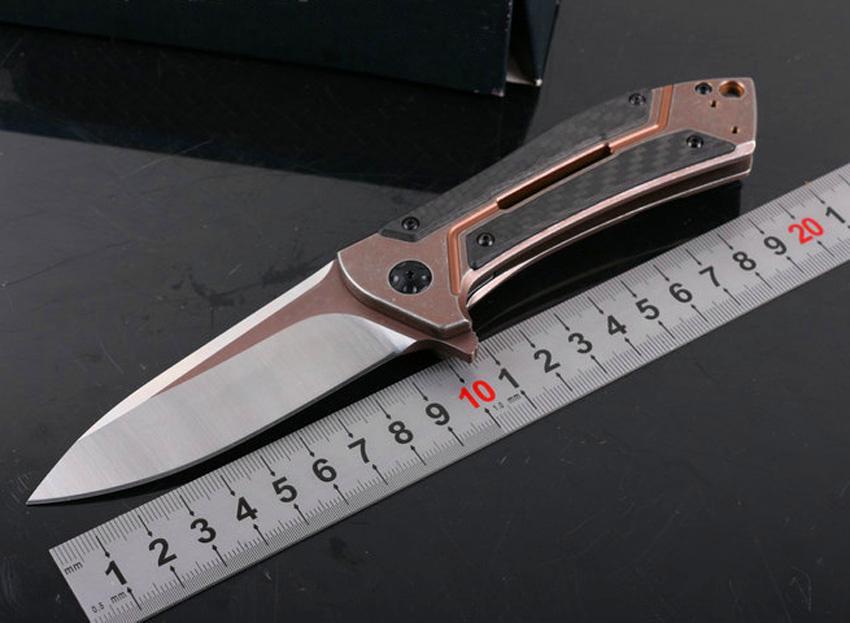 Sonderangebot 0801cf Flipper Klappmesser M390 Satin Blade TC4 Titan Legierung + Kohlefasergriff Kugellager System EDC Messer