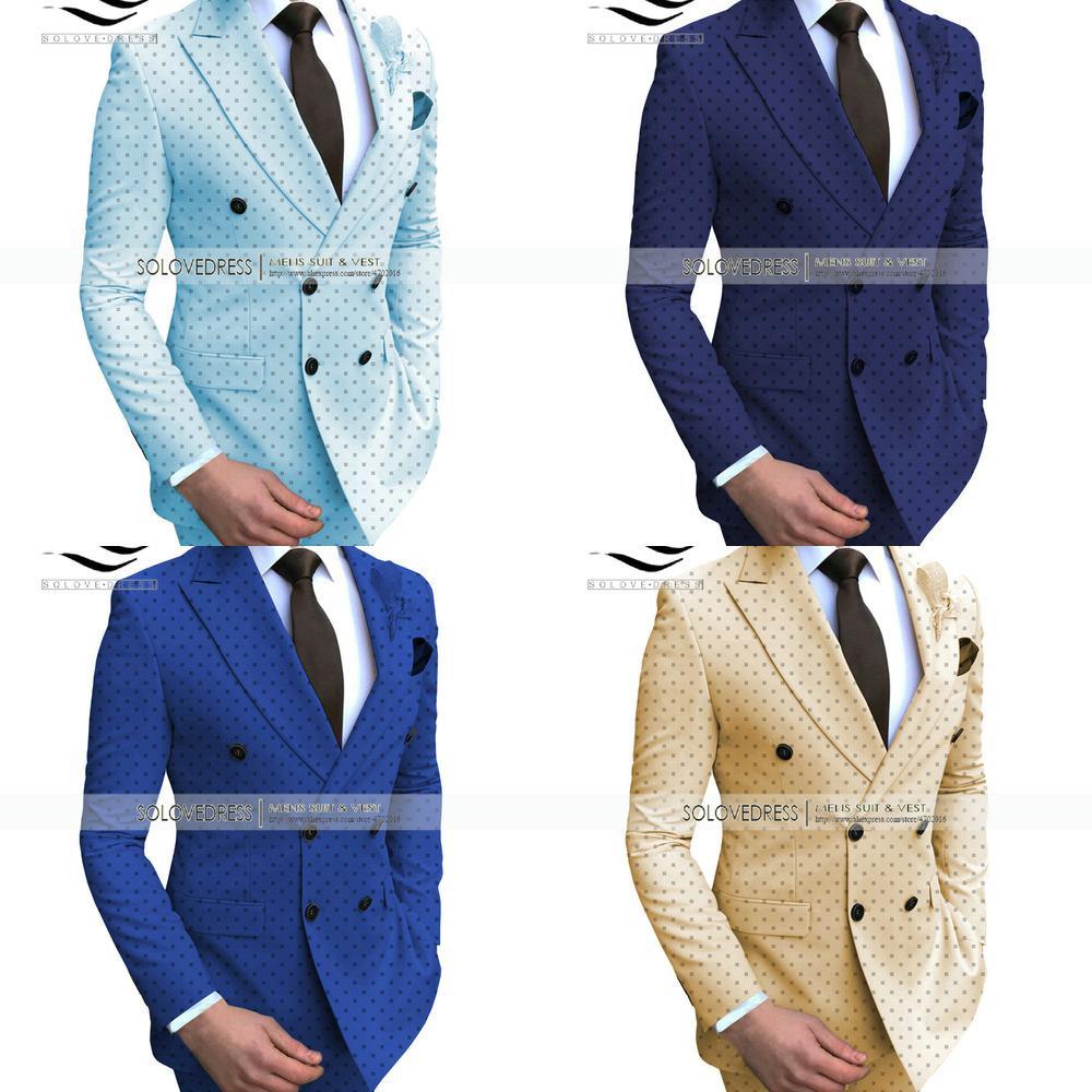 Мужские 2 штуки POIKA DOT BUSSINGE SURE CONTOR COMPLED CONTRAGE CONTAL NOTCH OAST PROM TUXEDOS для свадьбы / вечеринки (Blazer + штаны) W1217