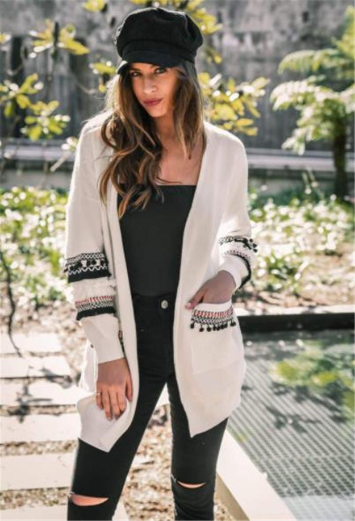 Autumn and Winter New Europe and the United States long-sleeved jacket stitching loose large-size fat MM medium-length women's cross-border
