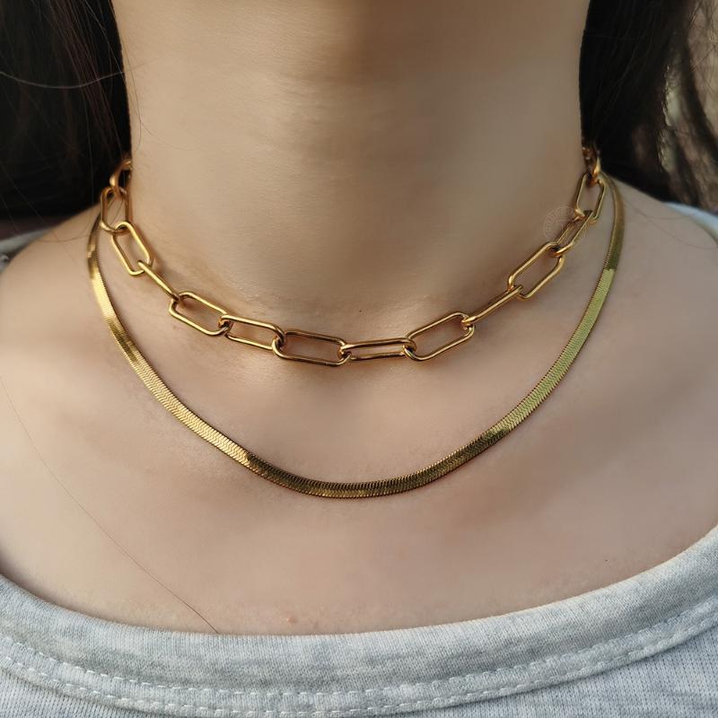 Collana in acciaio inox doppio strato per le donne ragazze Herringbone Snake Paperclip box rolo catena catena catena choker New Trend DS11