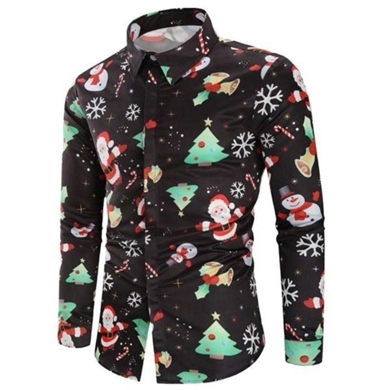 Homem Natal impresso camisa outono moda virada para baixo colarinho mangas compridas tops masculino casual único blusa peito 3xl y0104