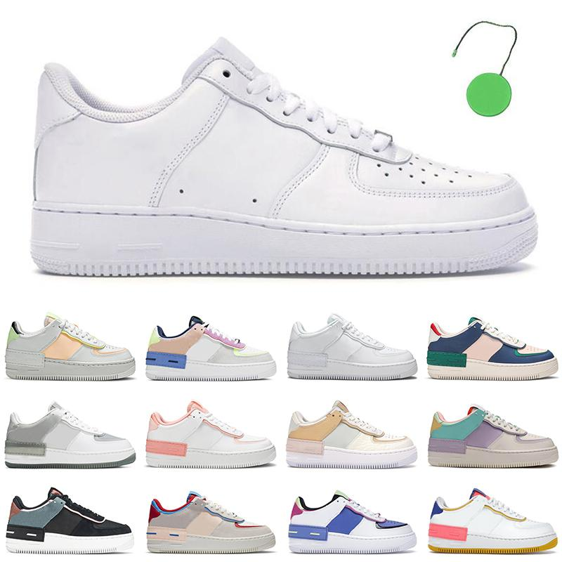 2021 force 1 af1 one shoes uomini donne scarpe platform sneakers ombra Coral Pink Pale Ivory Triple white Pastel Flax mens trainer casual jogging walking