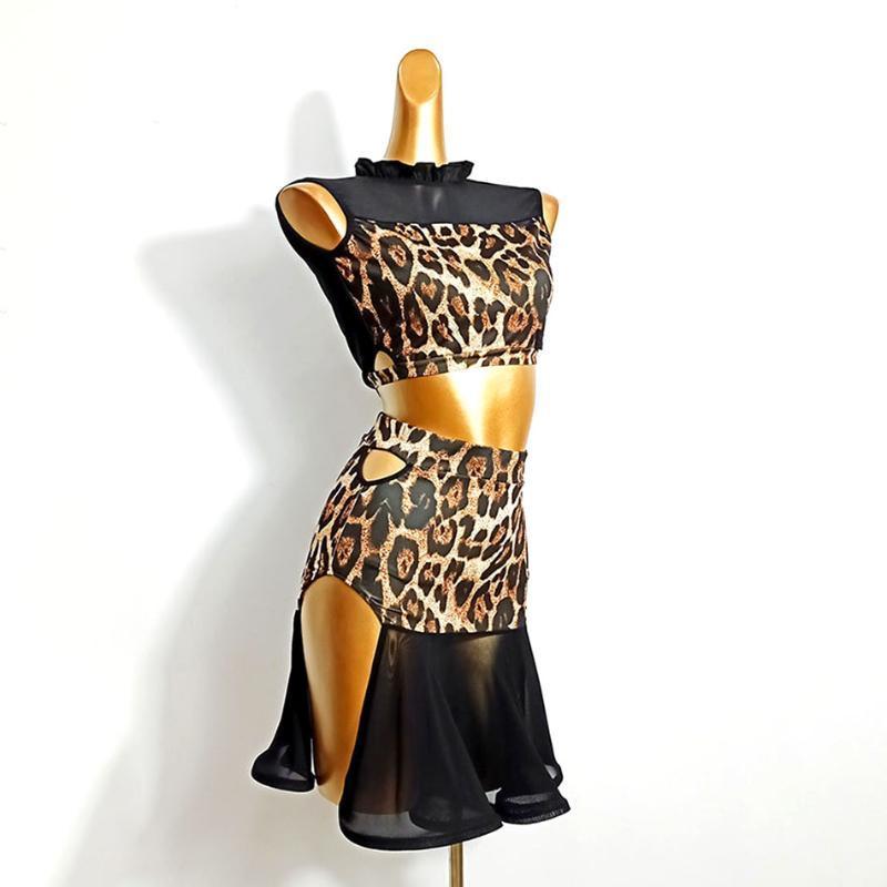 Etapa de desgaste 2021 Vestido de baile latino Mujeres DL504 Leopardo Tops y falda Performance Traje Dancing Paño Belly Chacha Vestidos de salón de baile