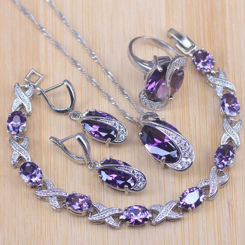 Silber Farbe Schmuck Sets für Frauen Hochzeitsparty Purpurrote Kristall Ohrringe Armband Ringe Halskette Anhänger Armband