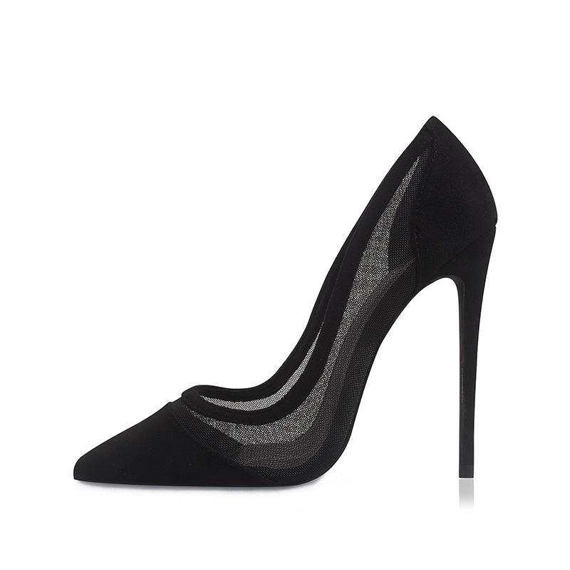 Genshuo Schuhe Frau Pumps Sexy Mesh High Heels Designer Schuh Stiletto Pumps Black Mesh Ferse Party Schuhpumpen plus Größe 11 12 210204