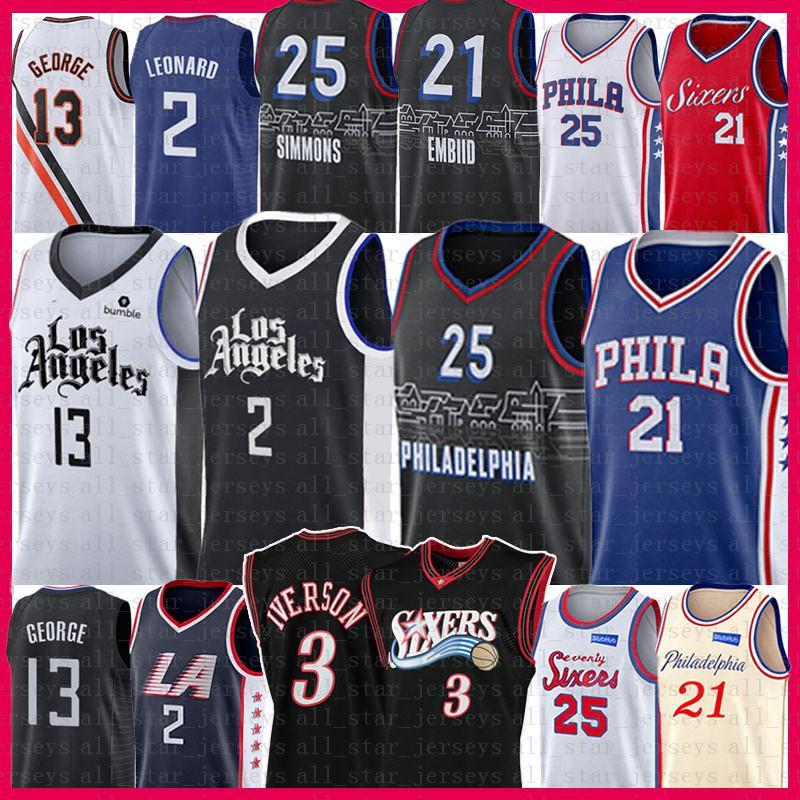 Kawhi 2 Joel 21 Embiid Leonard Ben 25 Simmons Basketball Jersey Pablo 13 George Allen 3 Iverson Julius 6 Eresing Los Retro Angeles 2021 Nuevo