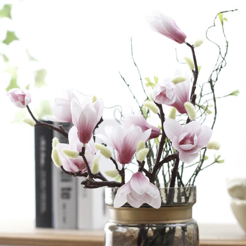 Magnolia artificial Seda Falso Flowa Fleur Fleur Artificielle Flores Organizar la mesa Boda Decoración para el hogar Accesorio de fiesta1