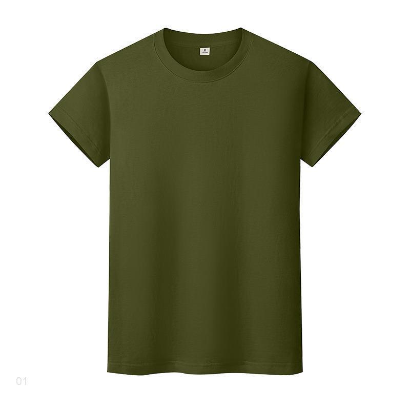 Nouveau t-shirt de couleur solide ronde en coton à manches courtes et à manches courtes à manches longues UC51i