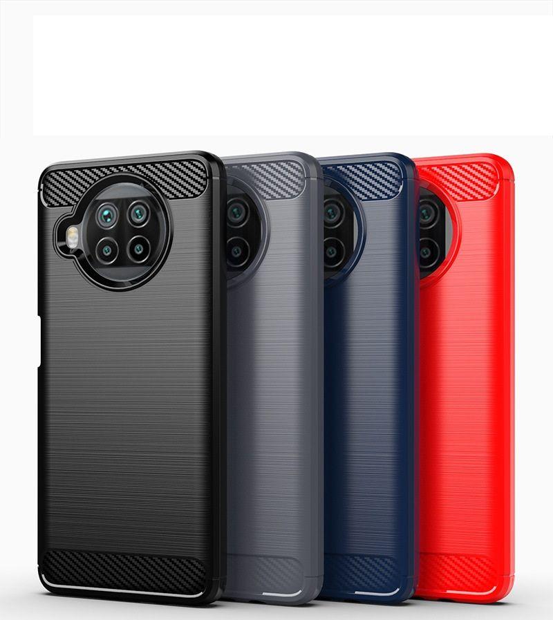 Cubierta de caja delgada de la textura de la fibra de carbono Cubierta de la caja TPU para Xiaomi 10T Lite 5G MI POCO X3 NFC REDMI 9 9A 9C 10X PRO 100pcs / lot