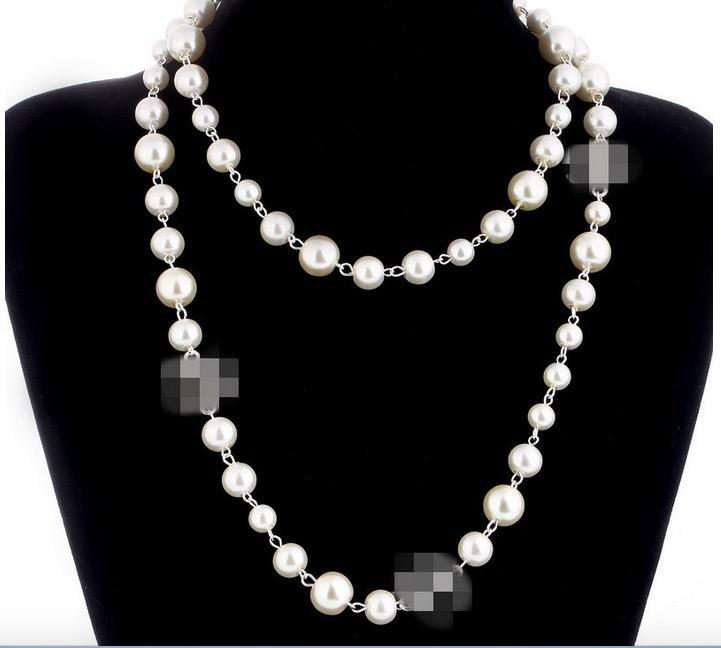 Collares de perlas de venta caliente para las mujeres Collar de suéter largo de alta calidad Joyas de lujo de boda para el mejor regalo
