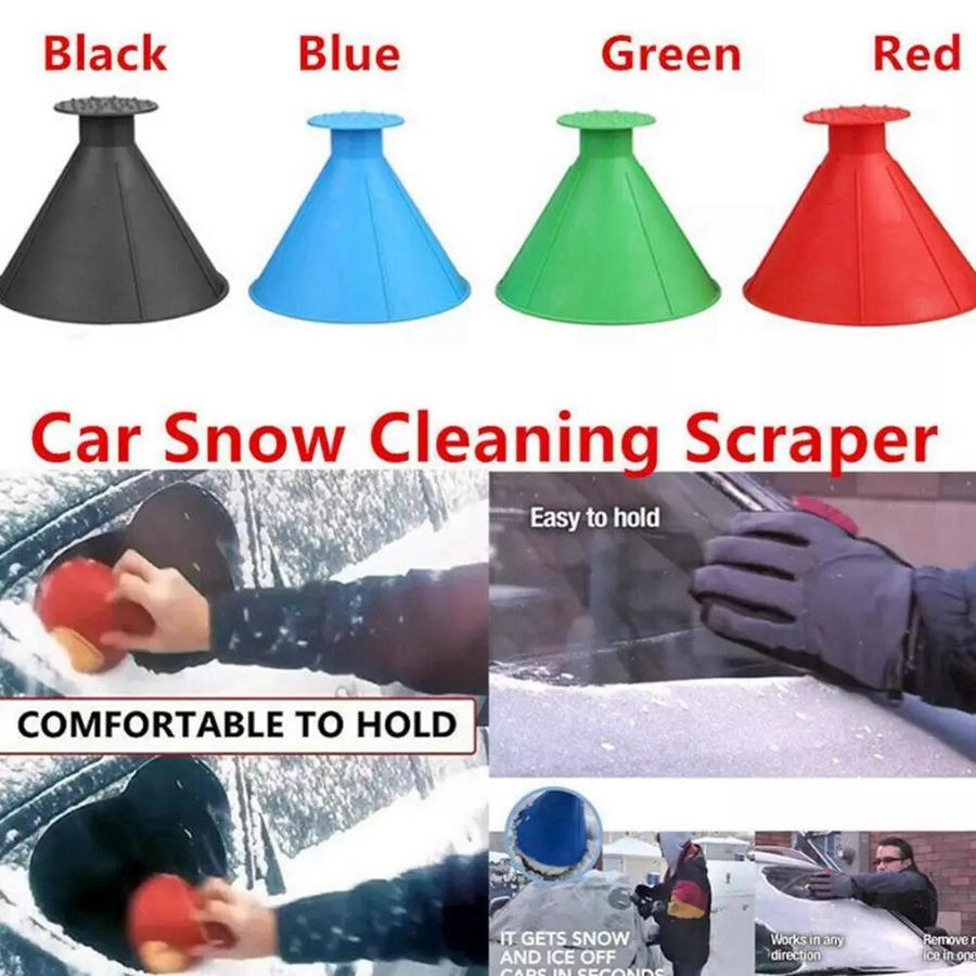 DHL Shipping New Magical Window Windshield Car Ice Scraper Snow Remover Cone Shaped Funnel Housekeeping Cleaning Tool 4 Colors RRA1889