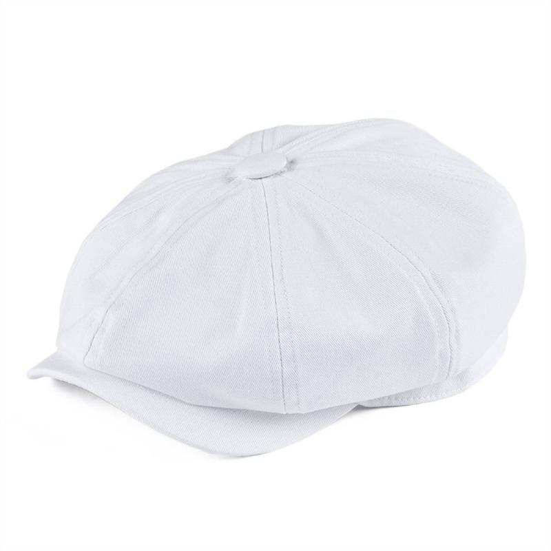 Botvela Beyaz Newsboy Cap erkek Dimi Pamuk Şapka kadın Baker Çocuk Caps Retro Büyük Başlık Büyük Şapkalar Cabbie Beret 003