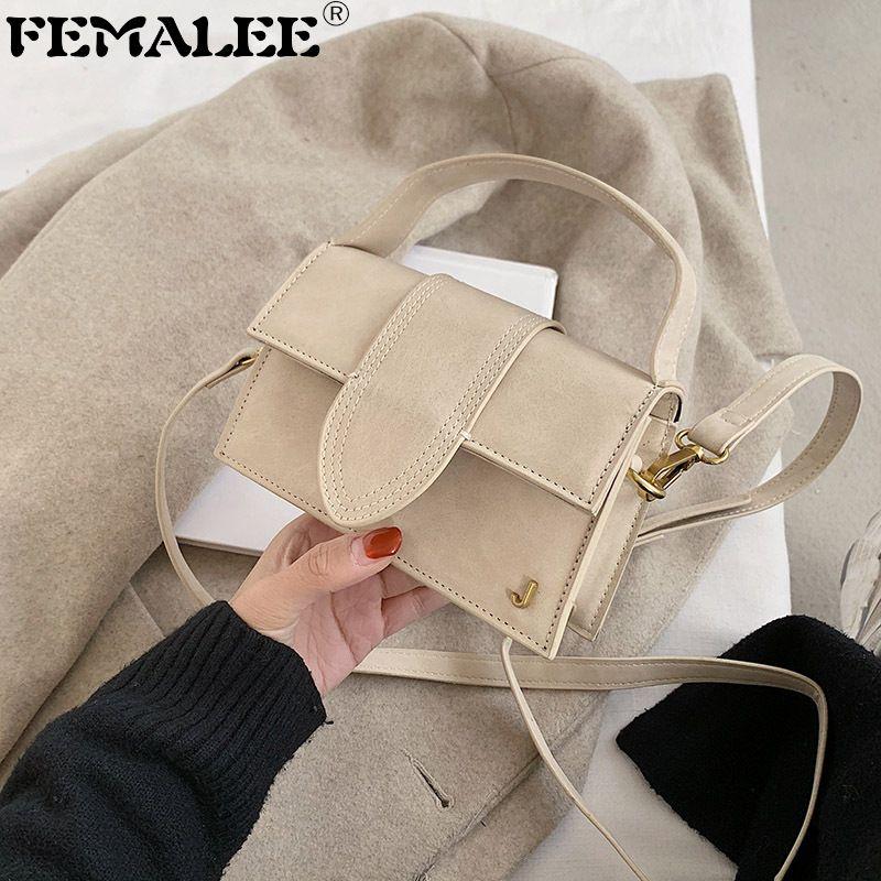 Buzlu Doku Çanta Kadın Trendy Retro Crossbody Mini J Mektup Kadınlar Nubuk Deri Omuz Çantası Moda Marka Çantalar C0220