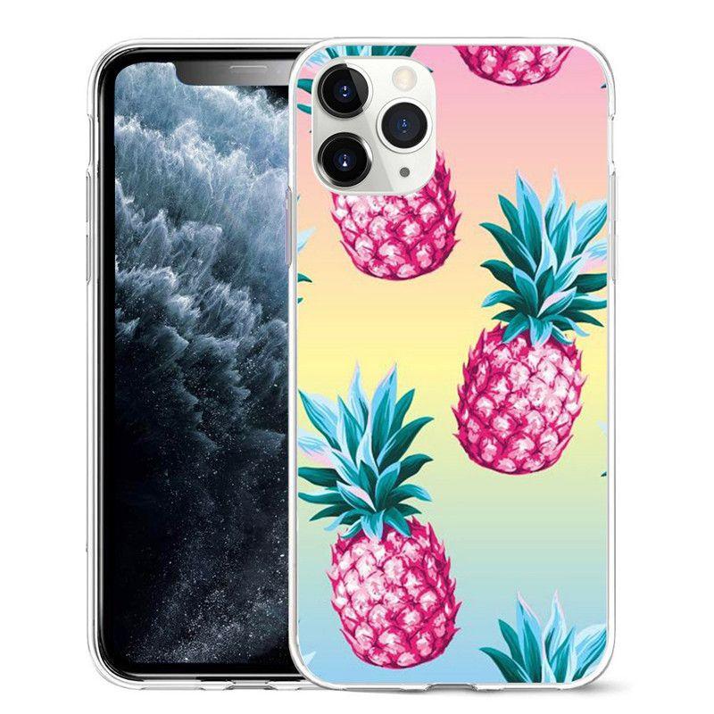 Abacaxi 3D Capa de pintura de tpu macio para iphone 11 pro max xr x xs max 7 8 plus SE2 Telefone traseiro tampa 500pcs