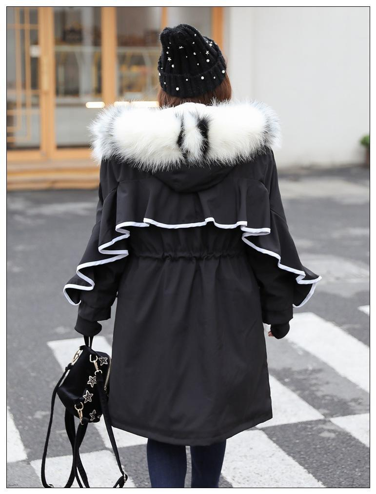 8XL 대형 겨울 코트 여성 패션 큰 모피 칼라 프릴 긴 코튼 라이너 후드 파카 여성 플러스 벨벳 따뜻한 재킷 코트