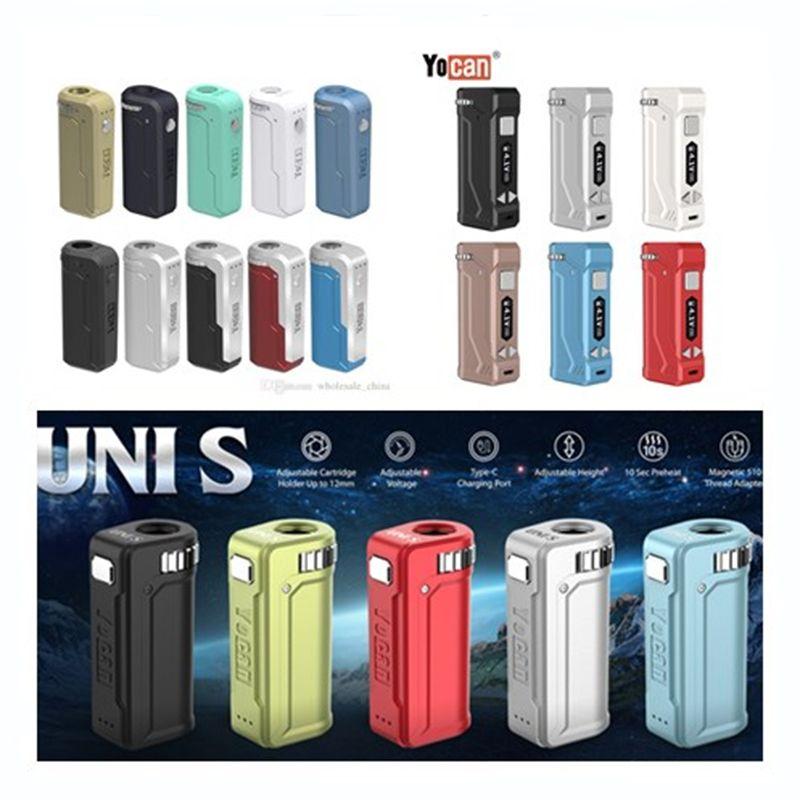 Аутентичные Yocan UNI S Uni Uni Pro Mod батареи Регулируемый диаметр Разогреть 400mAh 650mAh 11 цветов Yocan электронной сигареты