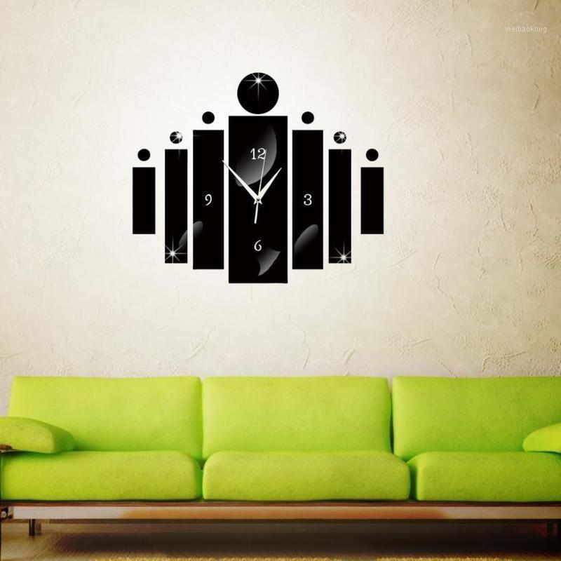 Цифровые Настенные Часы Зеркало Стены Наклейки Часы Гостиная Современные Творческие Акриловые Тихие Часы Игла для Украшения дома1