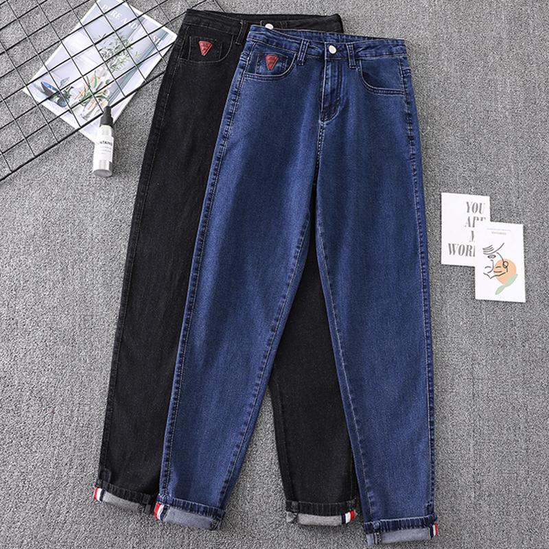 Poignets d'automne Stretch Harem Longueur Femme Jeans High Taille Lâche Pantalon de taille Plus Denim Denim Coréen Style Mujer Pants