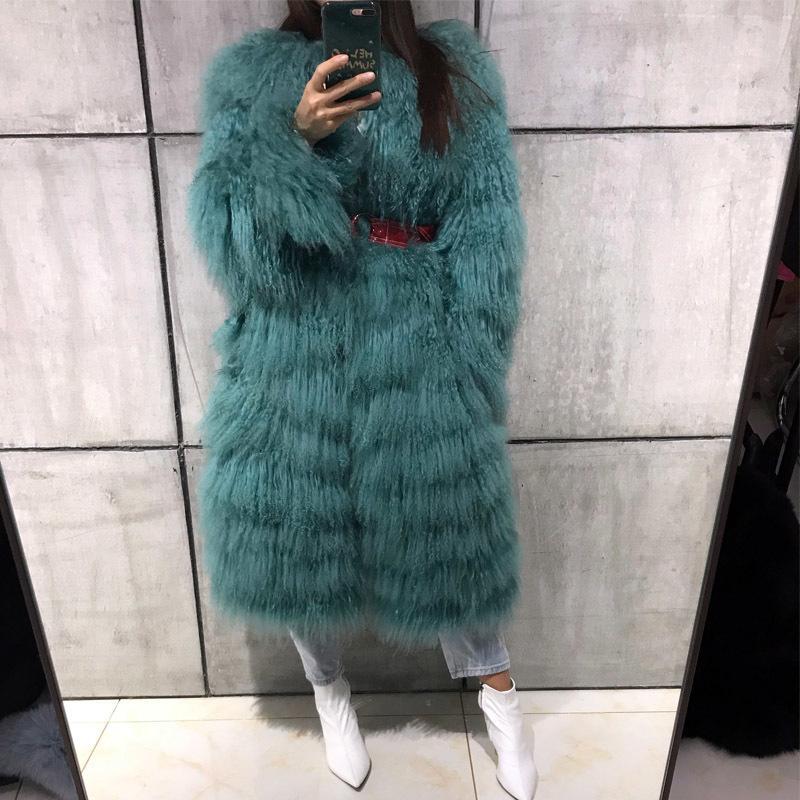 Lady Kadınlar Gerçek Ceket Doğal Ceket Moğolistan Koyun Kürk Coatx1019