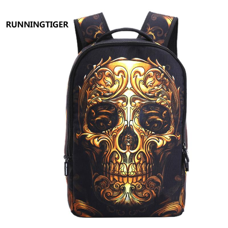 New student bag, trend, skull, head, backpack, sports, shoulder bags, men and women.