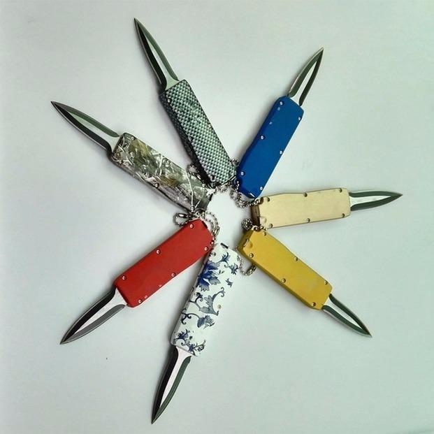 Mict Mini Pull Flail 나이프 440 블레이드 단일 액션 자동 자동 키 체인 새틴 포켓 나이프 고정 블레이드 크리스마스 선물 3276