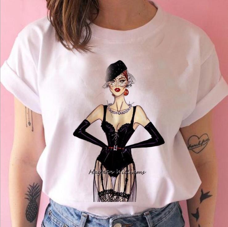 Mode Vog Princesse T-shirt Femmes Filles 90s Tshirt Harajuku Ulzzang Imprimer Graphique Summer T-shirt Blanc Top Tee Femme