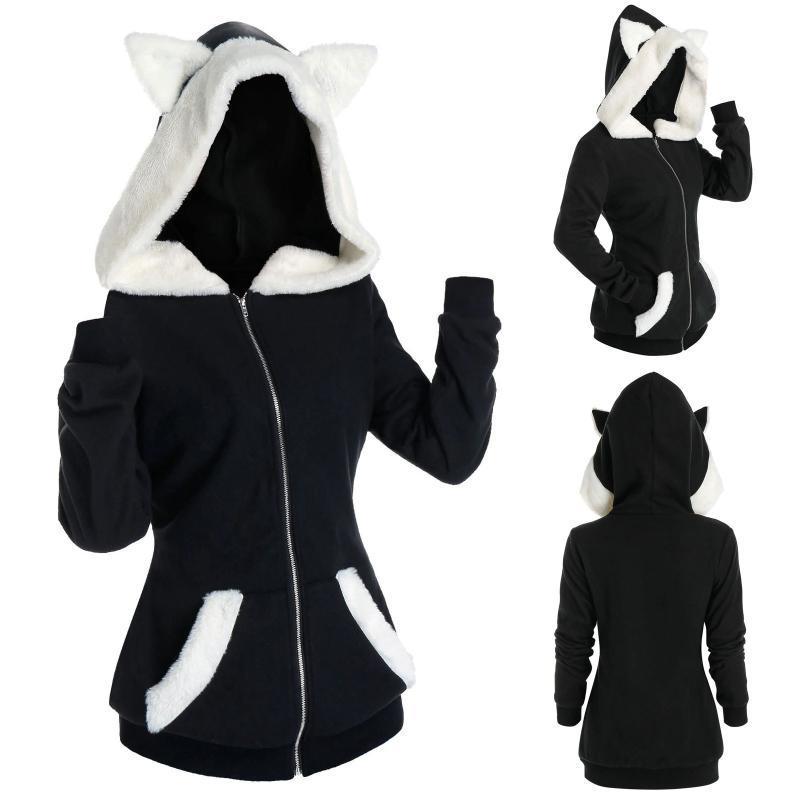 Кошка уха толстовки женская толстовка пушистый из искусственного мех вставка zip pullover женский плюс размер осень зима harajuku hoodie eartwear