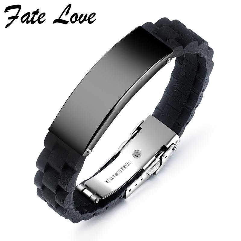 Bracelets de charme Mens Silicone 2021 En acier inoxydable Bijoux Hommes Bracelet Hip Hop Bijoux Accessoires Black Pulsers Hombre