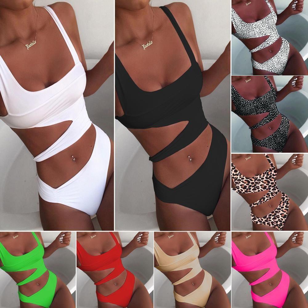 2020 новый сексуальный белый купальник купальник вырезать купальники толчок монокини купальники костюмы пляж носить плавательный костюм для женщин