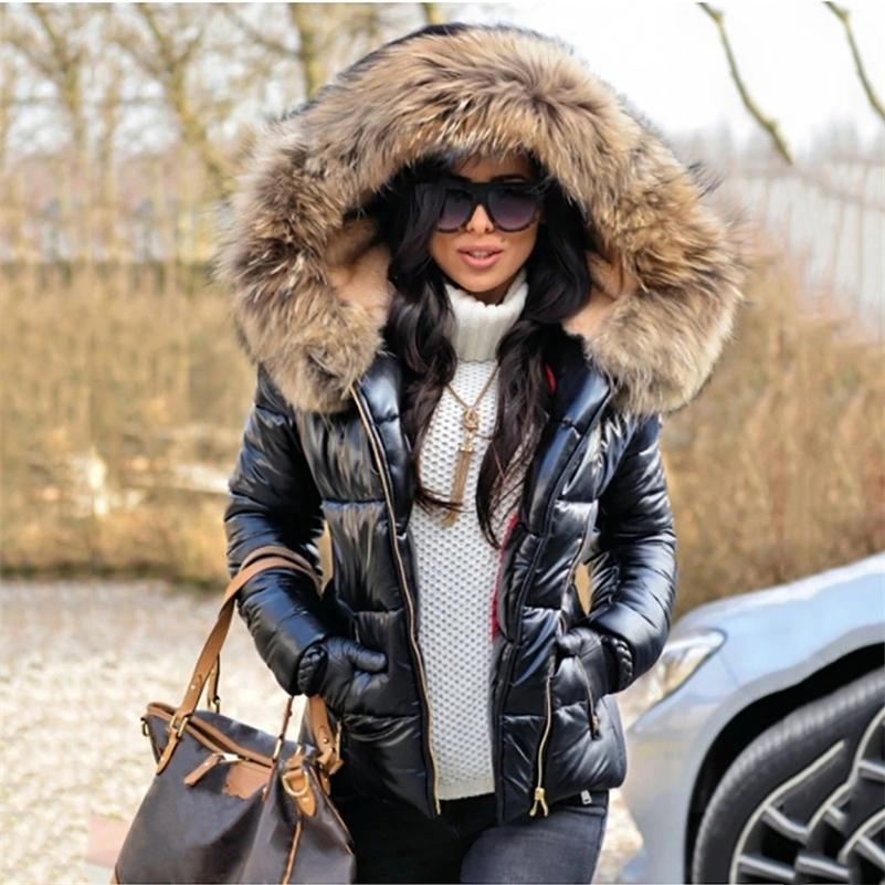 Winter Black Woman Jacket Fur Hooded Long Sleeve Thick Coats Female Zipper Casual Solid Color Warm Jackets Parkas Clothes 201211