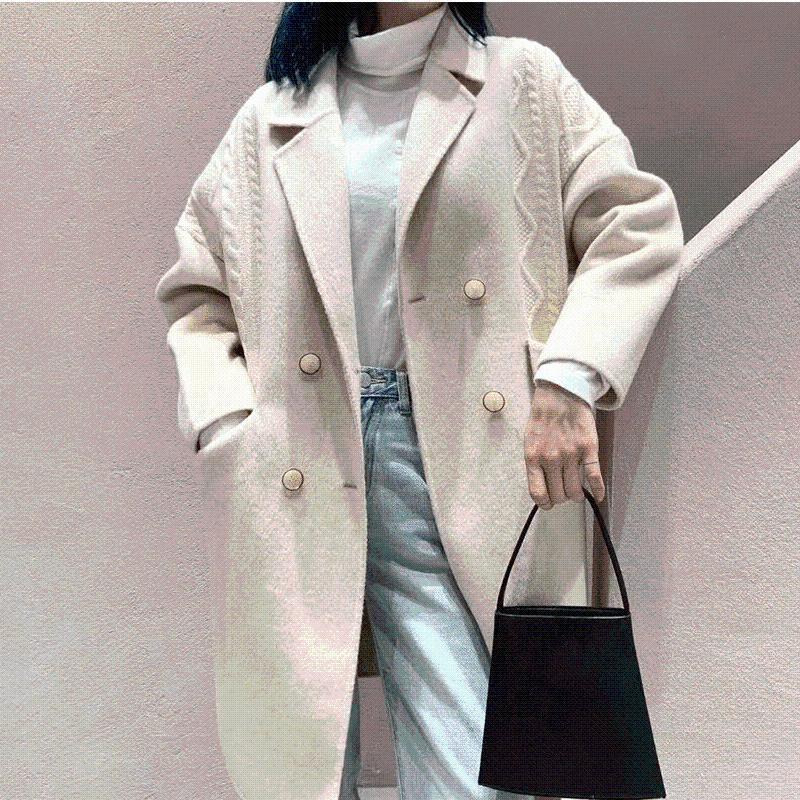 Novo lazer solto australiano lã jacquard tit é temperamento de edição de Han de pano de casaco de moda feminina