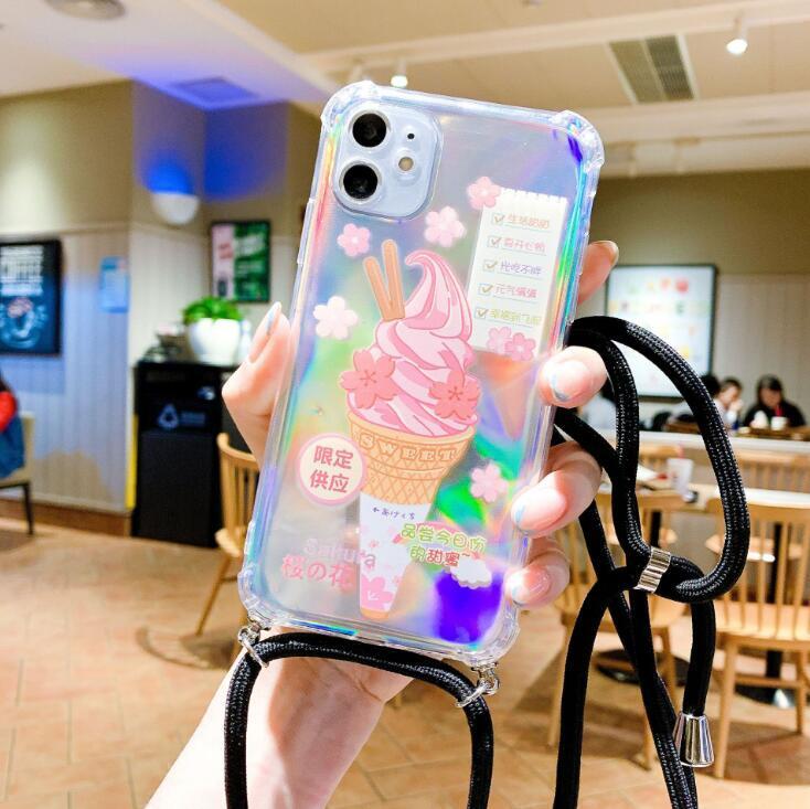 İPhone12 Pro için Uygun Maksimum Degrade Dört Kömür Anti-Drop TPU Telefon Kılıfı Kordon Kilitli Cep Telefonları