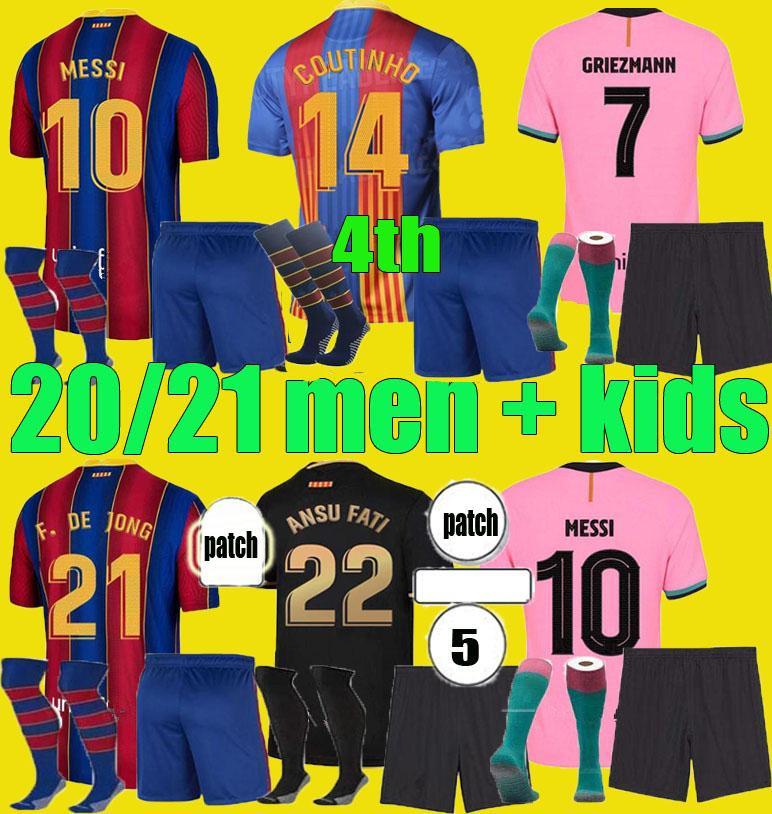 Quarto Camiseta de Futbol 2020 2021 Griezmann Ansu Fati Messi 20 21 Jersey Soccer Coutinho de Jong Enfants Camisa de Futebol Homens Kits Kits