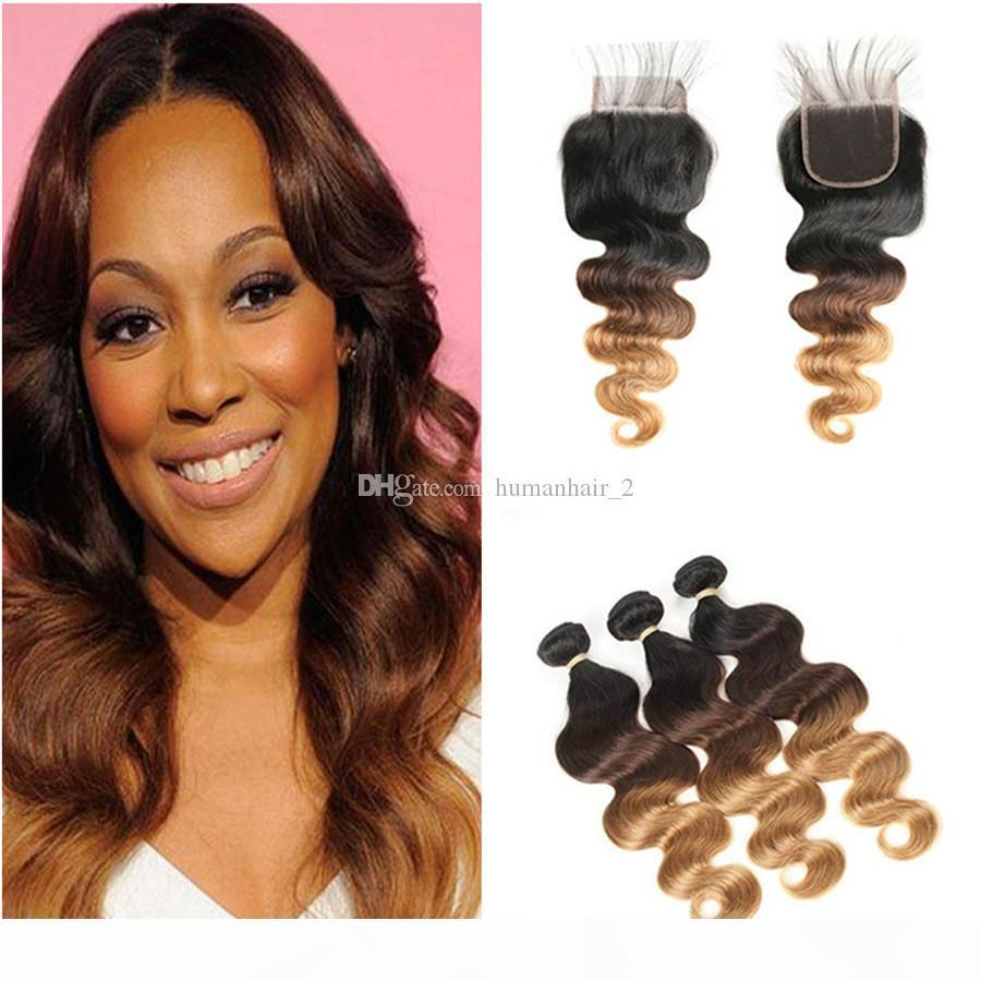 1b 4 27 Honey Blonde Ombre Virgin Brasiliano Capelli Umani Teaves con chiusura Body Wave 3tone Ombre 4x4 Chiusura del pizzo con 3bundles