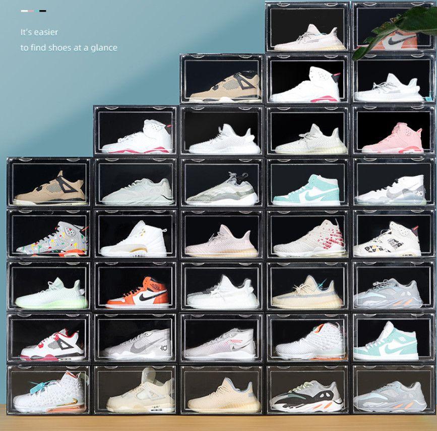 Diseño de imán Tamaño grande Transparente Caja de zapatos de plástico AJ zapatillas de deporte de polvo Caja de almacenamiento de zapatos a prueba de polvo Cajas de zapatos de zapatos apilables Caja de organizador