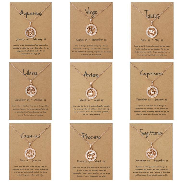3D 12 Signo de zodiaco Constelaciones Colgantes Colgantes Collares para Mujeres Hombres Silver Gold Jewelry Fashion Cumpleaños Regalos